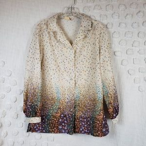 Tops - Vintage Floral Ombre Button Down long sleeve Top